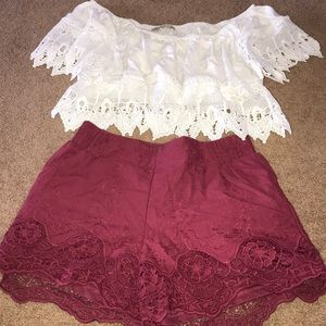 Top off shoulder lace bottom/ shorts high waste